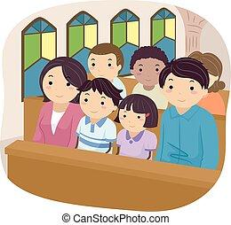 család, templom, stickman