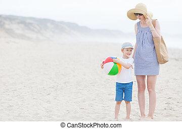 család, tengerpart