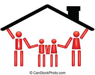 család togetherness, alatt, épület