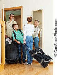 család, utazó, folytatódik holiday