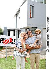 család, vásárol épület