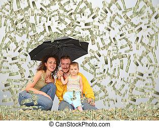 család, wih, kicsi lány, noha, esernyő, alatt, dollár, eső, kollázs