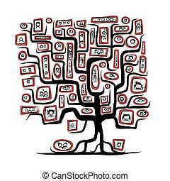 családfa, skicc, noha, emberek, arcképek, helyett, -e, tervezés