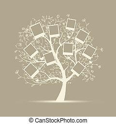 családfa, tervezés, közzétesz, -e, fénykép, bele, keret