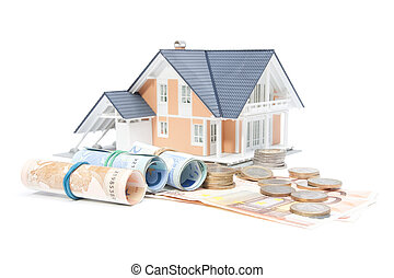családi finanszíroz, -, épület, és, pénz