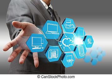 csalogat, hálózat, elvont, üzletember, felhő, ikon