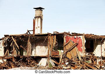 csapás, romos, épület