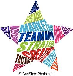 csapatmunka, alakít, csillag, szavak, jel