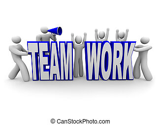 csapatmunka, befog, szó, épít, emberek