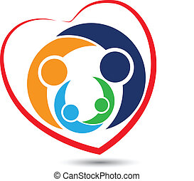 csapatmunka, család, alatt, szív, jel