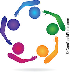 csapatmunka, csoport, társaság, jel