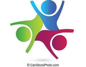 csapatmunka, egyesítés, társaság, emberek, jel