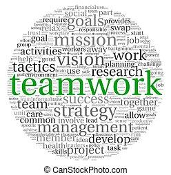 csapatmunka, fogalom, szó, felhő, címke