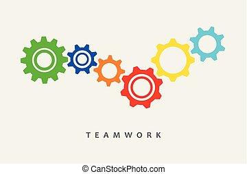 csapatmunka, fogaskerék-áttétel, színes, gondolat