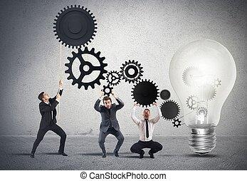 csapatmunka, gondolat, motorizáló
