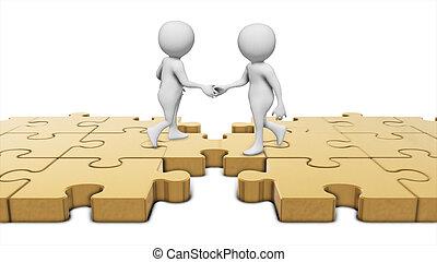 csapatmunka, kézfogás, képben látható, egy, bridzs, közül, p
