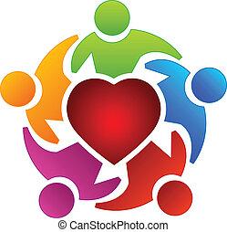 csapatmunka, szív, emberek, jel