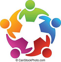 csapatmunka, változatosság, emberek, jel
