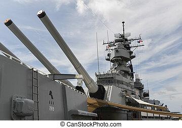 csatahajó, missouri, uss, fedélzet