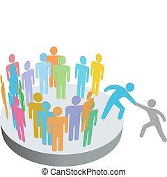 csatlakozik, pártfogó, emberek, társaság, személy,...