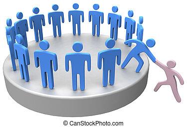 csatlakozik, segítség, ügy emberek, feláll, társadalmi