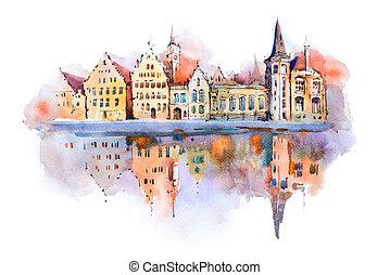 csatorna, bruges, rajz, vízfestmény, cityscape, brugge, ...