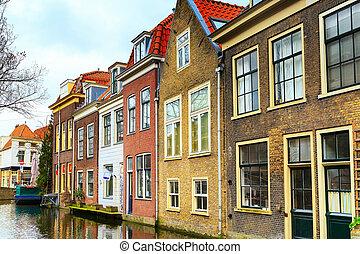 csatorna, utca, kilátás, hollandia, ércbánya