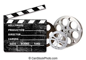 csattogó, canisters, üres, hollywood, fehér, film