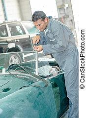 csavar, classic autó, feláll, szerelő, szélvédő