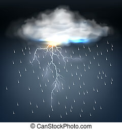 csavar, felhő, villámlás, eső