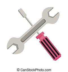 csavarhúzó, keresztbe tett, ficam, kulcs, eszközök