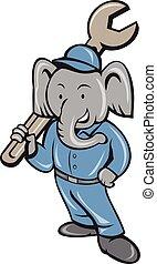 csavarkulcs, álló, karikatúra, szerelő, elefánt