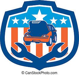 csavarkulcs, autó megjavítás, retro, pajzs