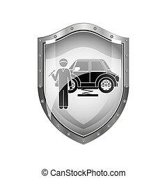 csavarkulcs, autó, pajzs, szerelő, fémből való