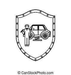 csavarkulcs, autó, pajzs, szerelő, körvonal