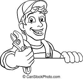 csavarkulcs, szerelő, karikatúra, ficam, ezermester, vízvezeték szerelő