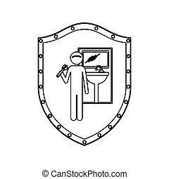 csavarkulcs, vízvezeték szerelő, fürdőszoba, pajzs, körvonal