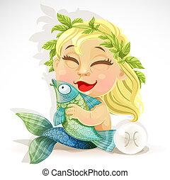 csecsemő, állatöv, -, aláír, halak csillagképe