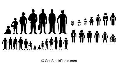 csecsemő élet, gyermek, fehér, diák, háttér, emberi, öreg