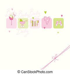 csecsemő, érkezés, kártya