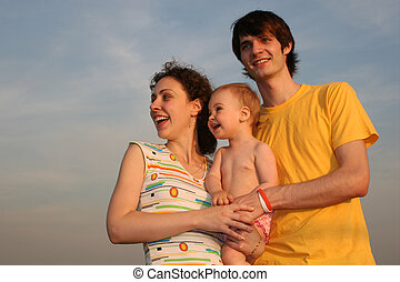 csecsemő, 2, este, closeup, család