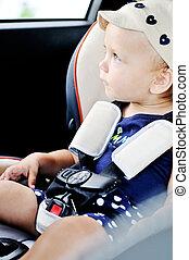 csecsemő, alatt, egy, biztonság, autó leültet