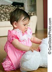 csecsemő, alatt, rózsaszínű ruha, noha, játékszer