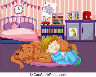 csecsemő, alszik, kutya