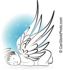 csecsemő, angyal, jel