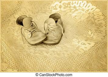 csecsemő, antiqued, cipők, fénykép