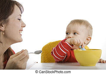 csecsemő, anya, táplálás, neki