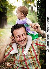 csecsemő, atya, övé, lány, boldog