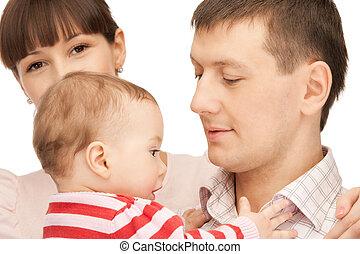csecsemő, atya, boldog, imádnivaló, anya