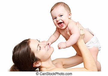 csecsemő, boldog, anya